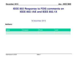 IEEE 802 Response to FDIS comments on IEEE 802.1AE and IEEE 802.1X