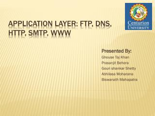 Application Layer: FTP, DNS, http, SMTP, WWW