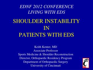 SHOULDER  INSTABILITY  IN PATIENTS WITH EDS