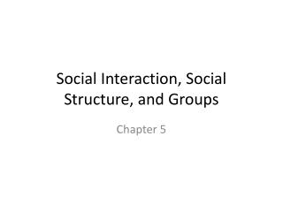 Social Interaction, Social Structure, and Groups