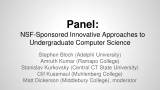Panel: NSF-Sponsored Innovative Approaches to Undergraduate Computer Science