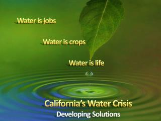 Water is crops