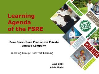 Learning Agenda  of the FSRE