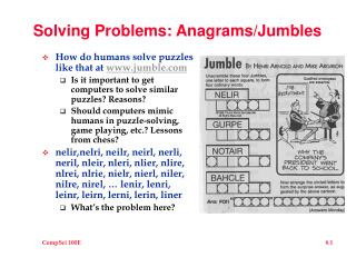 solving problems: anagramsjumbles