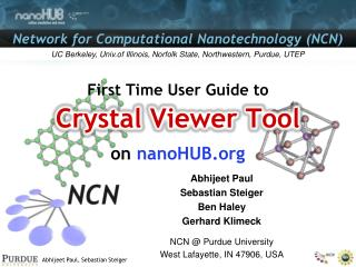 First Time User Guide to Crystal  Viewer  Tool on  nanoHUB.org