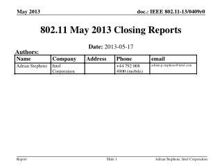 802.11 May 2013 Closing Reports