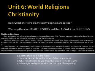 Unit 6: World Religions Christianity