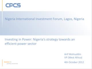 Investing in Power: Nigeria's strategy towards an efficient power sector