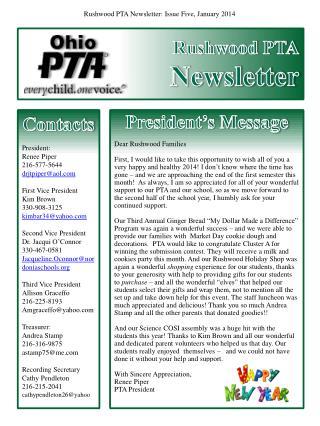 Rushwood PTA Newsletter
