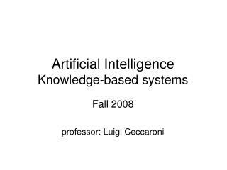 Artificial Intelligence Knowledge-based systems