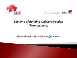 Diploma of Building and Construction (Management ) BSBWOR502B – Ensure Team effectiveness