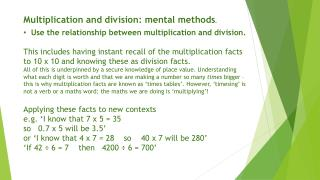 Multiplication and division: mental methods .