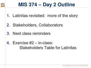 MIS 374 – Day 2 Outline