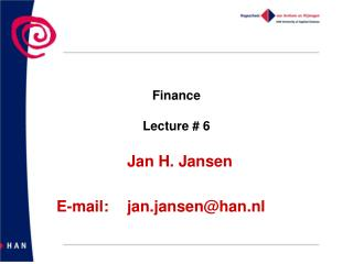 Finance  Lecture #  6