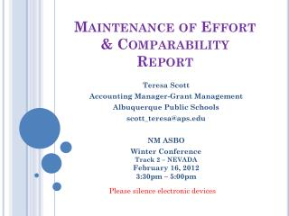 Maintenance of Effort & Comparability Report