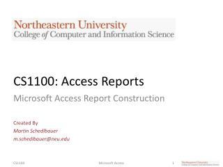 CS1100: Access Reports