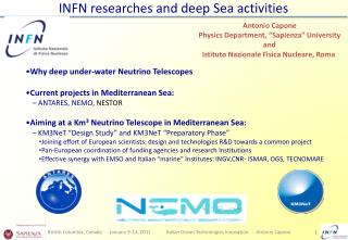 INFN researches and deep Sea  activities