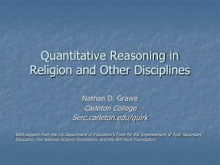 Quantitative Reasoning in Religion and Other Disciplines