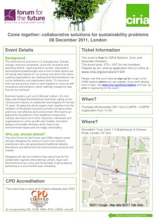 Come  together :  collaborative solutions  for  sustainability problems 08 December 2011, London