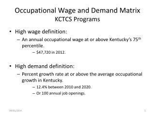 Occupational Wage and Demand Matrix KCTCS Programs