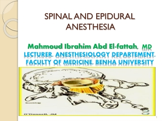 spinal and epidural anesthesia
