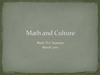 Math and Culture