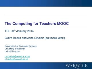 The Computing for Teachers MOOC