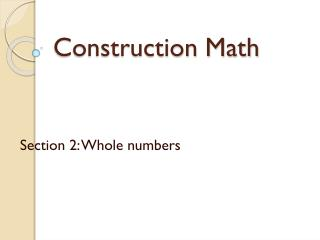 Construction Math