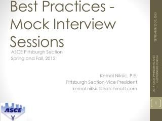 Best Practices - Mock Interview Sessions