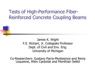 Tests of High-Performance Fiber-Reinforced Concrete Coupling Beams