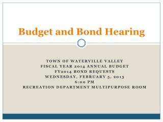 Budget and Bond Hearing