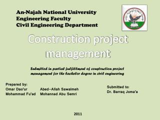 An- Najah  National University Engineering Faculty Civil Engineering Department
