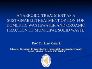 anaerobic treatment as a sustainable treatment option for domestic ...