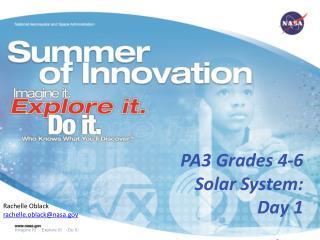 PA3 Grades 4-6 Solar System:  Day 1