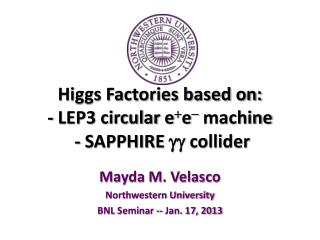 Higgs Factories based on:  - LEP3 circular  e + e -  machine  - SAPPHIRE  gg  collider