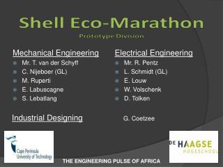 Mechanical Engineering Mr. T. van der Schyff C. Nijeboer (GL) M. Ruperti E. Labuscagne S. Lebatlang