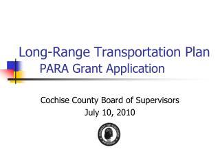 Long-Range Transportation Plan PARA Grant Application