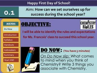 Objective: I will be able to identify the rules and expectations for Ms. Francois' class to succeed this school year.