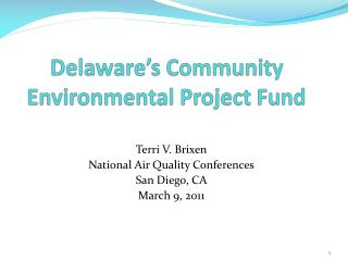 Delaware's Community Environmental Project Fund