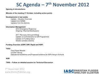 SC Agenda – 7 th  November 2012