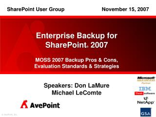 Enterprise Backup for  SharePoint ®  2007 MOSS  2007 Backup Pros & Cons, Evaluation Standards & Strategies Speakers: Do