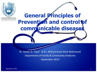 General Principles  of Prevention  and control of  communicable diseases