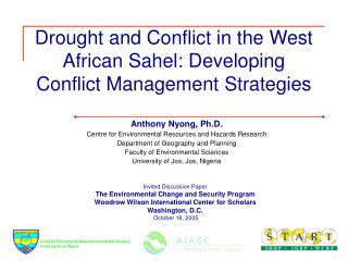 drought and conflict in the west african sahel: developing ...
