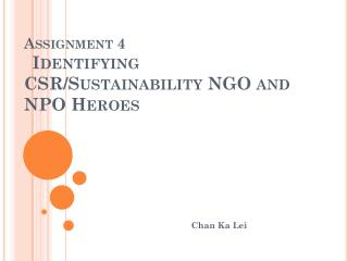 Assignment 4 Identifying CSR/Sustainability NGO and NPO Heroes
