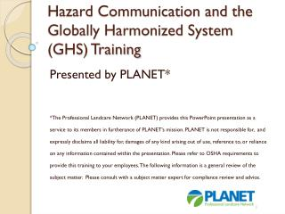 Hazard Communication and the Globally Harmonized System (GHS) Training