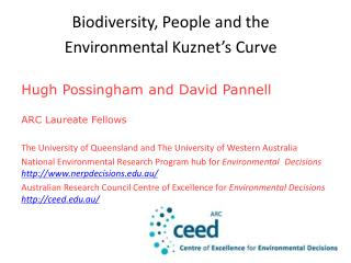 Biodiversity, People and the  Environmental  Kuznet's  Curve