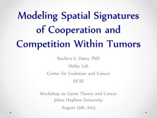 Modeling Spatial Signatures of Cooperation and Competition Within Tumors