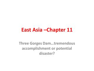 East Asia –Chapter 11