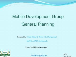 Mobile Development Group  General Planning