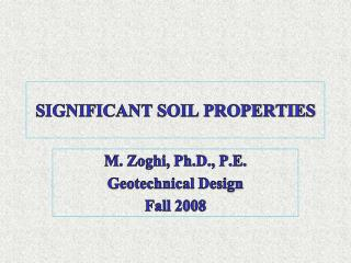 SIGNIFICANT SOIL PROPERTIES